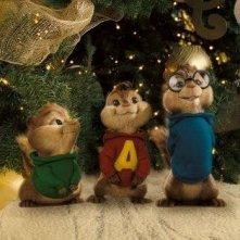 Alvin, Theodore e Simon, tre emozionati roditori in un'immagine del film Alvin Superstar 2