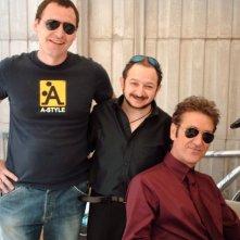 Orfeo Orlando, Marco Giallini e Alessandro Luceri sul set di Buttafuori (luglio 2006)
