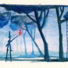 Un bozzetto realizzato ad acquerello per il film L'uomo fiammifero.