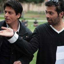 Shahrukh Khan e Karan Johar sul set del film My Name Is Khan