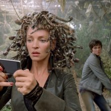 Medusa (Uma Thurman) e Percy (Logan Lerman) nel film Percy Jackson e gli dei dell'Olimpo: Il ladro di fulmini