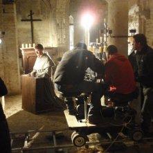Adriano Braidotti sul set del film Giovanni Scoto, diretto da Fernando Muraca