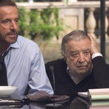 Christian De Sica e il regista Pupi Avati sul set del film Il figlio più piccolo