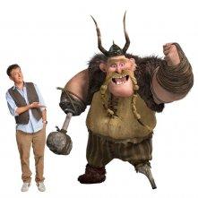 Craig Ferguson con il suo personaggio Gobber per un'immagine promo del film Dragon Trainer
