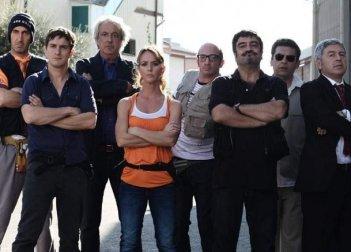 Una foto del cast di Boris 3 con Paolo Calabresi, Alessandro Tiberi, Caterina Guzzanti, Antonio Catania, Ninni Bruschetta, Pietro Sermonti e Francesco Pannofino