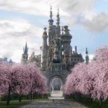 Una suggestiva immagine del castello di Alice in Wonderland diretto da Tim Burton