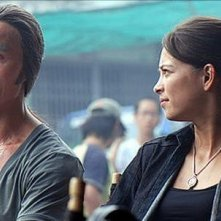 Kristin Kreuk e Robin Shou sul set del film Street Fighter: The Legend of Chun-Li