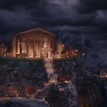 Un'immagine del maestoso Olimpo dal film Percy Jackson e gli dei dell'Olimpo: Il ladro di fulmini