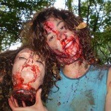 Una simpatica immagine di Claudia Federica Petrella sul set del film Cavie