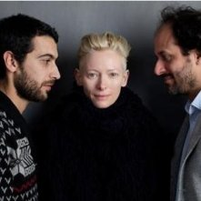 Edoardo Gabbriellini, Tilda Swinton e il regista Luca Guadagnino in una foto promozionale del film Io sono l'amore