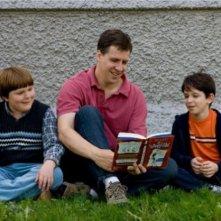 Zachary Gordon, Robert Capron e lo scrittore Jeff Kinney sul set di Diary of a Wimpy Kid con