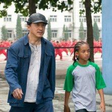 Una scena del film Karate Kid con  Mr. Han (Jackie Chan) e Dre (Jaden Smith)
