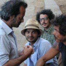 Max Gazzè, Alessandro Gassman e Paolo Briguglia con il regista Rocco Papaleo sul set di Basilicata Coast to Coast