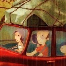 Il piccolo protagonista Nat insieme ai genitori Julie e Denis nel film Nat e il segreto di Eleonora (Eleanor's Secret)