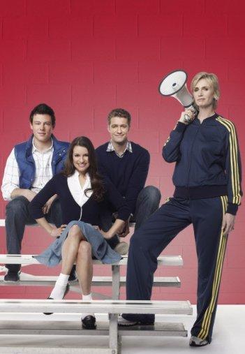 Glee: Cory Monteith, Lea Michele, Matthew Morrison e Jane Lynch in una foto promozionale