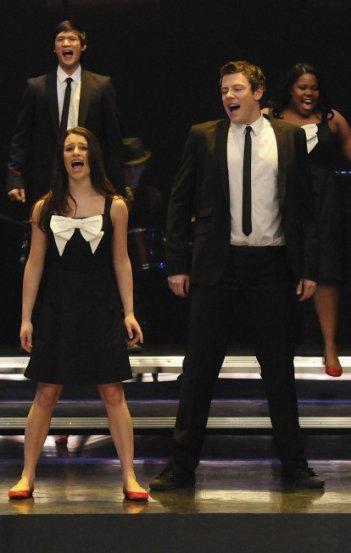 Matthew Morrison e Lea Michele nell'episodio Hell-O di Glee