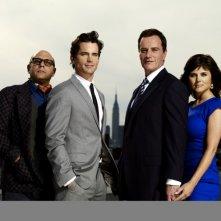 White Collar: Willie Garson, Matthew Bomer, Tim DeKay e Tiffani Thiessen in una foto promozionale della serie