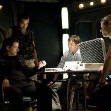 Justin Louis, Jamil Walker Smith, Tygh Runyan e Brian J. Smith in una sequenza dell'episodio Space di Stargate Universe