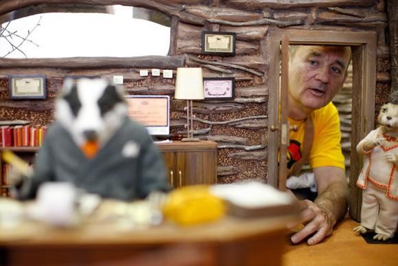 Bill Murray dà la voce al signor Badger sul set del film Fantastic Mr. Fox