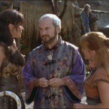 Robert Trebor, Lucy Lawless e Renee O\'Connor nell\'episodio Xena e la freccia avvelenata di Xena