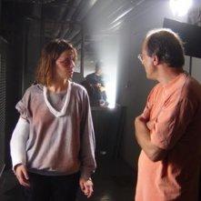 Paola Cortellesi e Felice Farina sul set del film La fisica dell'acqua