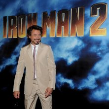 Un sorridente Robert Doney Jr. dal photocall di Iron Man 2 a Los Angeles