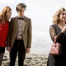 Doctor Who: Alex Kingston, Karen Gillan e Matt Smith nell'episodio The Time of Angels
