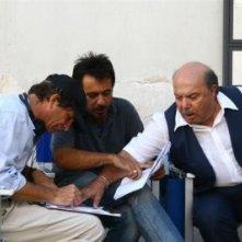 Giancarlo Russo con Lino Banfi sul set de Il padre delle spose.