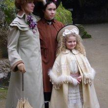Anne Parilleaud con Modesta Maryam Aiello e Mimosa Campironi, sul set film l\'Imbroglio nel lenzuolo