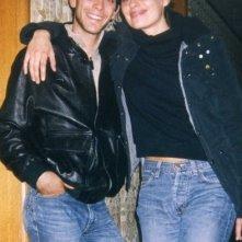 Alessandro Agnello con Claudia Pandolfi sul set del film Lavorare con lentezza