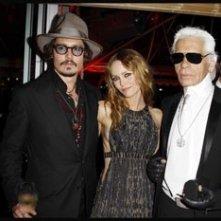 Cannes 2010: Vanessa Paradis e Johnny Depp con Karl Lagerfeld al party organizzato da Chanel al Vip Room