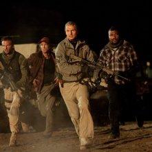 Bradley Cooper, Sharlto Copley, Liam Neeson e Quinton 'Rampage' Jackson in corsa nel film The A-Team