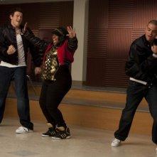 Glee: Cory Monteith, Amber Riley e Matthew Morrison e Mark Salling nell'episodio Funk