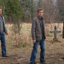 Jared Padalecki, Jensen Ackles e Jake Abel nell'episodio Swan Song di Supernatural