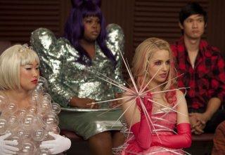 Dianna Agron, Jenna Ushkowitz e Amber Riley nell'episodio Theatricality di Glee