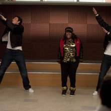 Glee: Cory Monteith, Amber Riley e Mark Salling nell'episodio Funk