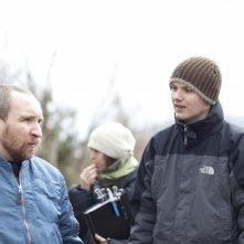 Eddie Marsan e il regista J Blakeson sul set del film The Disappearance of Alice Creed