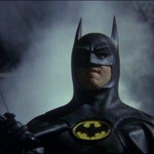 Michael Keaton in una sequenza del film Batman (1989)