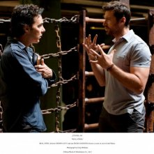 Hugh Jackman e il regista Shawn Levy sul set di Real Steel