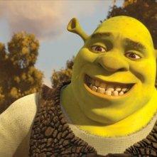 Primo piano del protagonista grande e grosso del film Shrek e vissero felici e contenti