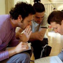 Fabio Troiano, Max Mazzotta e il regista Carlo Sarti sul set di Goodbye, Mr. Zeus!