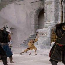 Una scena d'azione con Aang (Noah Ringer) nel film The Last Airbender