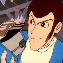 Il ladro Lupin III in una scena dell'episodio Trappola su quattro ruote de Le avventure di Lupin III