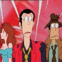 Lupin III con Fujiko e l\'ispettore Zenigata in una scena di Lupin III - La Pietra della Saggezza