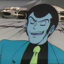 Lupin III in una scena dell\'episodio Trappola su quattro ruote della serie Le avventure di Lupin