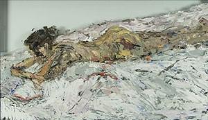 'Stephanie Reading', un dipinto a olio (su vetro) realizzato da Lucy Liu.