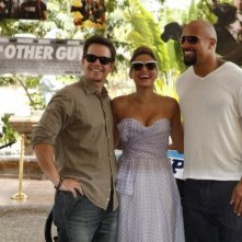 Mark Wahlberg, Dwayne Johnson ed Eva Mendes sul set di the Other Guys