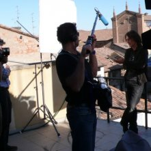 Luciano Ligabue sul set del film Niente Paura