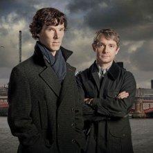 Benedict Cumberbatch e Martin Freeman in una foto promozionale della serie Sherlock