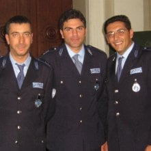 Salvatore Ruocco (al centro) sul set del film Gorbaciov - il cassiere col vizio del gioco, di Stefano Incerti